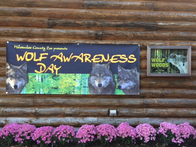 2015 Wolf Awareness Week Banner at the Milwaukee County Zoo.