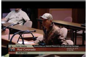 Rod Coronado testifying as seen on WisEye.org.